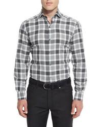 Large check long sleeve sport shirt gray medium 967899