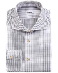 Kiton Woven Check Dress Shirt Gray