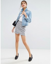 Asos A Line Mini Skirt With Circle Zip Pull In Check