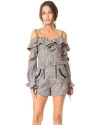 Self-Portrait Self Portrait Wool Check Off Shoulder Frill Top