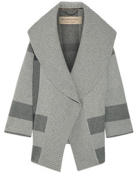 Burberry Checked Wool Blend Cardigan Gray