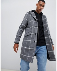 ONLY & SONS Stand Collar Wool Overcoat In Grid Check Melange