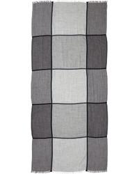 Brunello Cucinelli Windowpane Cashmere Blend Scarf Gray