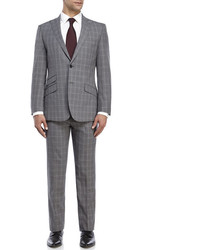 English Laundry Peak Lapel Check Print Suit