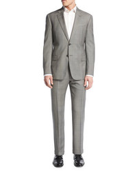Armani Collezioni Prince Of Wales Check Two Piece Suit Light Gray