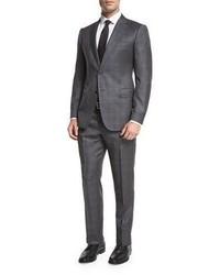 Armani Collezioni Windowpane Check Wool Two Piece Suit Graywhite