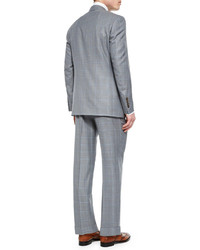 Canali Windowpane Two Piece Wool Suit Light Gray | Where to buy ...