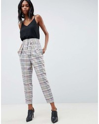 Asos Design Tailored Tapered Pants With D Ring In Gray Check