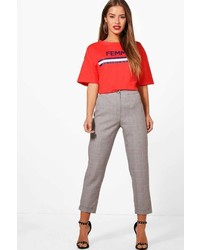 Boohoo Petite Charlie Dogtooth Check Tapered Trouser