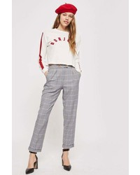 Petite Checked Tapered Trousers