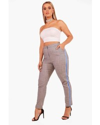 Boohoo Plus Demi Sports Tape Check Tapered Trouser