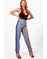 Boohoo Rosie Contrast Stripe And Check Slim Fit Trouser