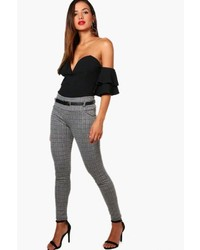 Boohoo Sarah Belted Check Skinny Trouser
