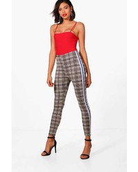 Boohoo Tania Contrast Side Check Skinny Trouser