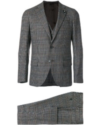 Lardini Checked Three Piece Suit