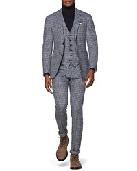 Suitsupply Havana Slim Fit Houndstooth Wool Cashmere Three Piece Suit