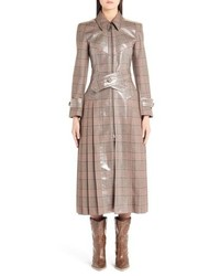 Fendi Checked Glazed Wool Trench Coat