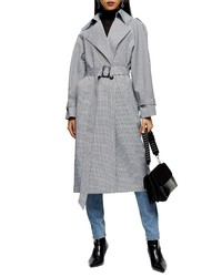Topshop Topshp Cortez Check Trench Coat