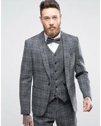 Slim suit jacket in harris tweed windowpane check in 100 wool medium 3757554