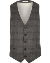 River Island Grey Prince Of Wales Check Vest