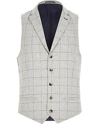 River Island Grey Wool Blend Check Vest