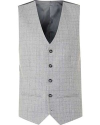Topman Grey Check Suit Vest