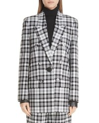 Alexander Wang Leather Cuff Checked Wool Blazer