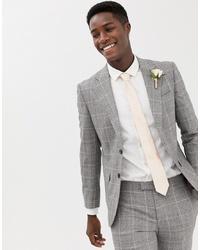 MOSS BROS Moss London Premium Skinny Suit Jacket In 100% Italian Wool Check