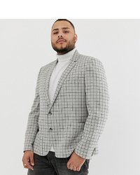 ASOS DESIGN Plus Skinny Wool Mix Blazer In Mini Stone Check