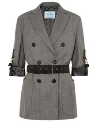 Prada Belted Double Breasted Checked Wool Blazer