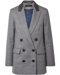 Rag & Bone Ellie Double Breasted Checked Wool Blend Blazer