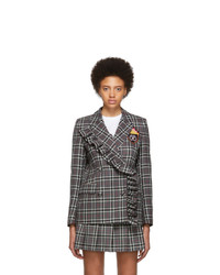 MSGM Grey Checked Flame Crest Varsity Blazer