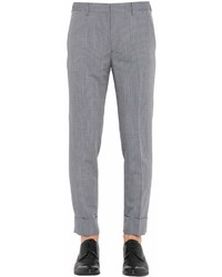Prada 17cm Check Wool Mohair Straight Pants