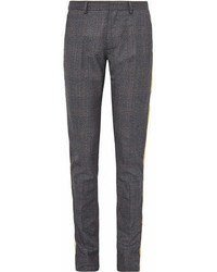 Calvin Klein 205w39nyc Grey Slim Fit Velvet Trimmed Prince Of Wales Checked Wool Suit Trousers
