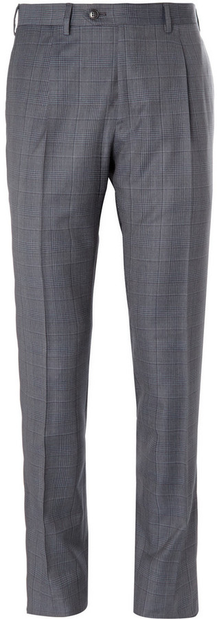 Brioni Checked Super 120s Wool Trousers