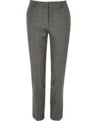 River Island Grey Checked Skinny Fit Travel Suit Pants