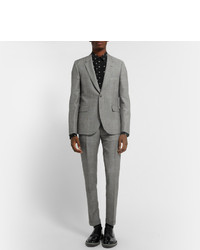 Paul Smith Grey Slim Fit Prince Of Wales Check Mohair And Wool Blend Suit Trousers