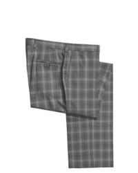 Riviera Armando Plaid Dress Pants Wool Flat Front Grey