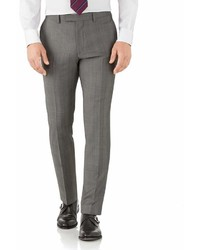 Charles Tyrwhitt Silver Slim Fit Italian Sharkskin Luxury Check Suit Wool Pants Size W36 L32 By
