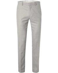 Topman Grey Check Skinny Fit Suit Pants