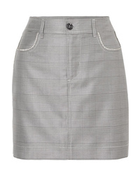 Ganni Merkel Crystal Embellished Checked Silk And Wool Blend Mini Skirt