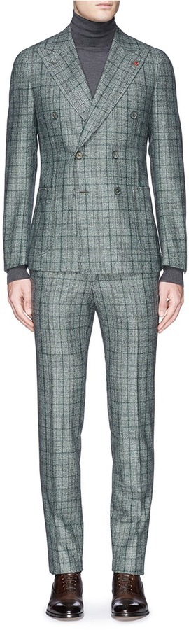 Isaia Cortina Check Plaid Double Breasted Wool Suit | Where to buy ...