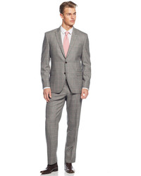 Tallia Grey Windowpane Check Slim Fit Suit