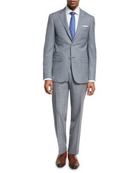 Windowpane check wool two piece suit gray medium 1161132