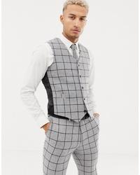 ASOS DESIGN Skinny Suit Waistcoat In Grey Wool Mix Windowpane Check