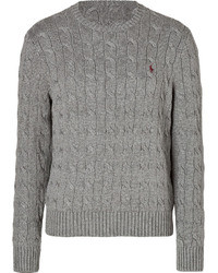 Polo Ralph Lauren Cable Cotton Pullover In Heather Grey