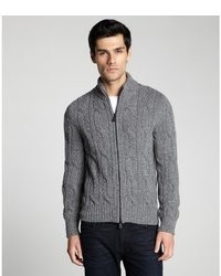 Moncler Grey Melange Wool Blend Cable Knit Stand Collar Zip Front Cardigan