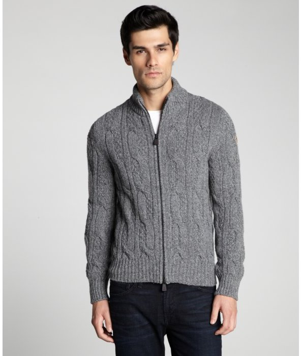 Moncler Grey Melange Wool Blend Cable Knit Stand Collar Zip Front ...