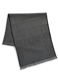 Black Brown 1826 Chevron Merino Wool Scarf