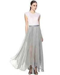 Alice olivia ava high waist leather waistband pleat maxi skirt medium 49953
